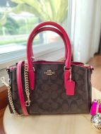 COACH F29434 MINI SAGE CARRYALL IN SIGNATURE (Brown/True Red)