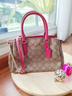 COACH F29434 MINI SAGE CARRYALL IN SIGNATURE (Khaki/True Red)