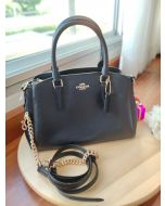 COACH F28977 MINI SAGE CARRYALL IN CROSSGRAIN LEATHER (BLACK)