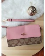 COACH F76829 FOLDOVER WRISTLET IN BLOCKED SIG CANVAS (PETAL)