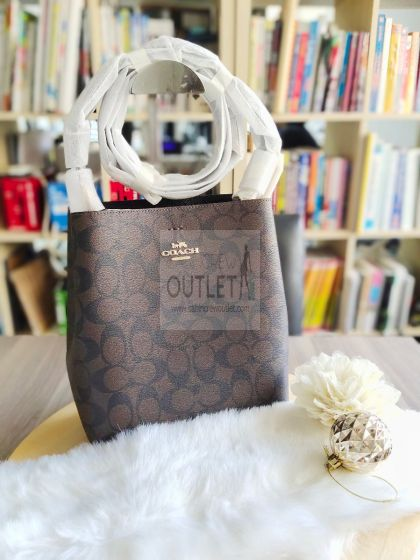 Coach 2312 Small Town Bucket Bag In Signature Canvas BR/BL