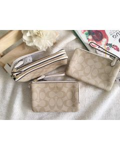 COACH F87591 DOUBLE ZIP WRISTLET CHALK WHITE