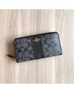 Coach F54630 Zip Wallet in Signature Canvas SMOKE01
