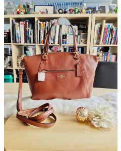 Coach F58874 Prairie Satchel Pebble Leather Saddle Brown