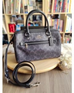 Coach 93987 Rowan Satchel In Signature Denim Midnight