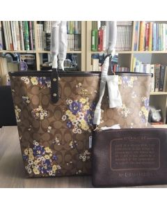 COACH F32084 Reversible City Tote Medley Bouquet Print Blue