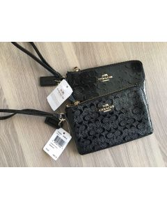 COACH F55206 1ZIP DEBOSSED PATENT (black)