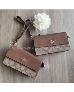 Coach F78229 Foldover Wristlet In Signature Canvas