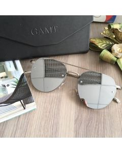 GAMT Vintage Round Aviator Sunglasses Metal Frame (Silver)