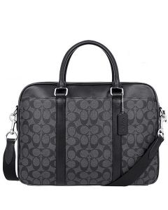 COACH F54803 PERRY SLIM BRIEF IN SIGNATURE CHARCOAL BLACK