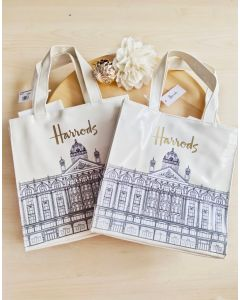 Harrods Small Illustrated Building Shopper Bag