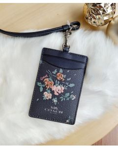 COACH 91792 ID LANYARD WITH ROSE BOUQUET PRINT (Midnight Multi)