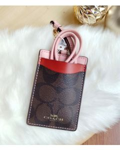 Coach F57964 LANYARD ID CASE (Brown/Blush)