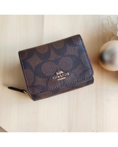 Coach F41302 Small Trifold Wallet In Signature Canvas BR/BL