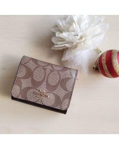Coach F78081 Small Trifold Wallet In Signature Canvas PINK PETAL