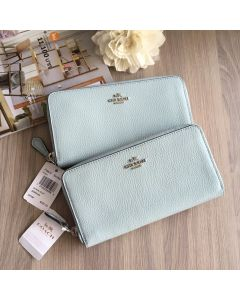 COACH F16612 ACCORDION ZIP WALLET IN POLISHED PEBBLE  (AQUA)