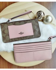 COACH ZIP TOP WALLET F37565 KHAKI PETAL