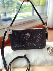 COACH F39656 TOP HANDLE POUCH WITH STAR GLITTER (BLACK/SILVER)