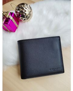 COACH F74991 COMPACT ID WALLET IN SPORT CALF LEATHER (BLACK)