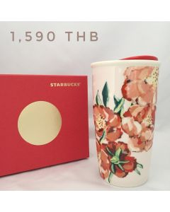 Starbucks painted floral design Ceramic Travel Mug