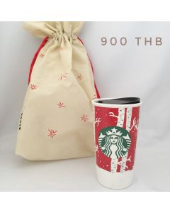 Starbucks Ceramic Travel Mug Christmas
